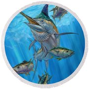 Black Marlin And Albacore Round Beach Towel