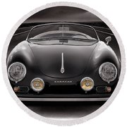 Black Porsche Speedster Round Beach Towel