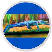 Round Beach Towel featuring the painting Blue Alligator by Deborah Boyd