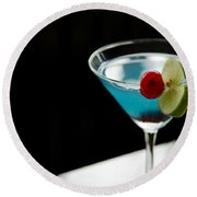 Blue Cocktail Drink With Cherry And Lime Round Beach Towel
