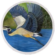 Round Beach Towel featuring the painting Blue Heron In Flight by Brenda Brown