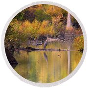 Blue Heron Lake Round Beach Towel