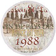 Bordeaux Blanc Label 1 Round Beach Towel