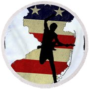 Born In New Jersey Round Beach Towel