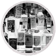 Bottles Of Liquor, De Luans Bar Round Beach Towel
