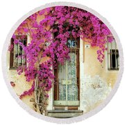 Bougainvillea Doorway Round Beach Towel by Allen Beatty