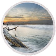 Bough In Ocean Round Beach Towel