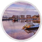 Bowling Harbour Panorama 02 Round Beach Towel