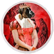 Boxer Art Canvas Print Round Beach Towel