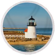 Brant Point Lighthouse Nantucket Round Beach Towel