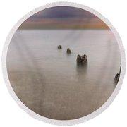 Breakwater Round Beach Towel by Peter Lakomy