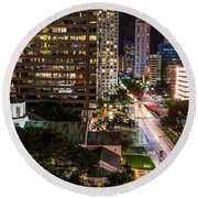 Brickell Ave Downtown Miami  Round Beach Towel by Michael Moriarty