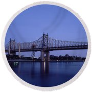 Bridge Across A River, Queensboro Round Beach Towel