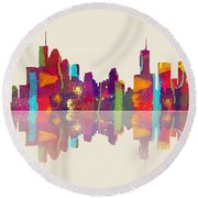 Brisbane Australia Skyline Round Beach Towel