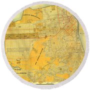 Britton And Reys Guide Map Of The City Of San Francisco. 1887. Round Beach Towel
