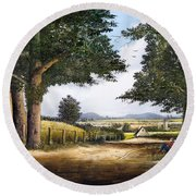 Round Beach Towel featuring the painting Bromyard Downs by Ken Wood