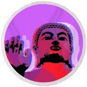 Round Beach Towel featuring the digital art Buddha Pop Art - Warhol Style by Jean luc Comperat