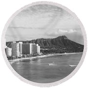 Buildings At The Coastline Round Beach Towel