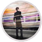 Business Man At Train Station Railway Platform Round Beach Towel