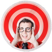 Business Man In Fear On Target Background Round Beach Towel