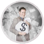 Business Person With Money Sack. Financial Success Round Beach Towel