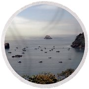 Round Beach Towel featuring the photograph Busy Harbor by Sharon Elliott