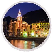 Camogli At Evening Round Beach Towel