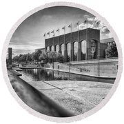 Round Beach Towel featuring the photograph Canal Walk by Howard Salmon