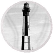 Cape Henry Lighthouse  Round Beach Towel