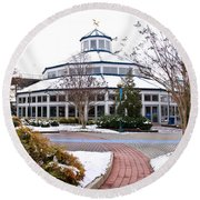 Carousel Building In The Snow Round Beach Towel