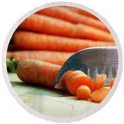 Carrots Round Beach Towel by Joseph Skompski