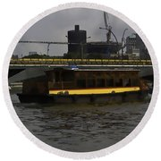 Cartoon - Colorful River Cruise Boat In Singapore Round Beach Towel