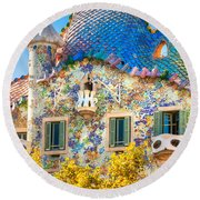 Casa Batllo - Barcelona Round Beach Towel by Luciano Mortula