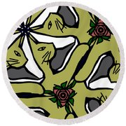 Round Beach Towel featuring the digital art Cat / Shoe / Rose by Elizabeth McTaggart