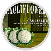 Cauliflower Farm Round Beach Towel