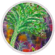 Round Beach Towel featuring the painting Celery Tree by Holly Carmichael