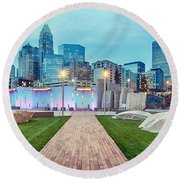 Charlotte City Skyline In The Evening Round Beach Towel