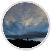 Round Beach Towel featuring the photograph Chase The Moonlight by Tammy Espino