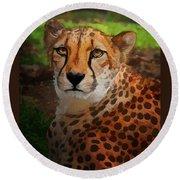 Cheetah Mama Round Beach Towel