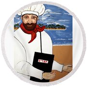 Round Beach Towel featuring the painting Chef From Israel by Nora Shepley