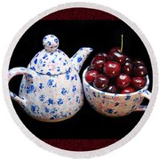 Cherries Invited To Tea 2 Round Beach Towel