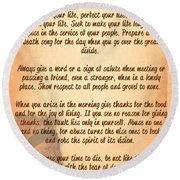 Round Beach Towel featuring the digital art Chief Tecumseh Poem - Live Your Life by Celestial Images