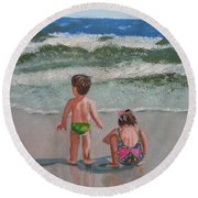 Children On The Beach Round Beach Towel