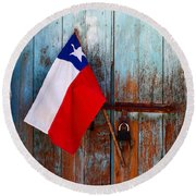 Chilean Flag On Church Door Round Beach Towel