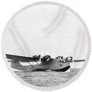 China Clipper Seaplane Round Beach Towel