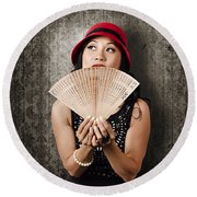 Chinese Girl Fanning Herself With Asian Hand Fan Round Beach Towel