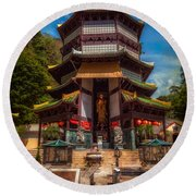 Chinese Temple Round Beach Towel