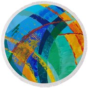 Round Beach Towel featuring the painting Choices by Linda Bailey