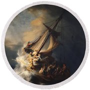 Round Beach Towel featuring the painting Christ In The Storm On The Sea Of Galilee by Rembrandt Van Rijn