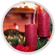 Round Beach Towel featuring the photograph Christmas Candles by Patricia Babbitt